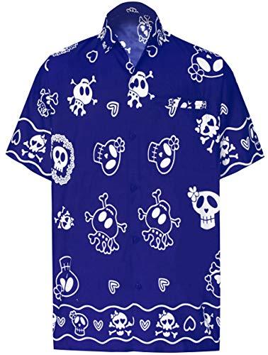 Jungen Hawaiian Für Kostüm - LA LEELA Pumkin Scary Grusel Ghosts Happy Halloween Kostüm Herren Hemd Strandhemd Hawaiihemd Kurzarm Urlaub Hemd Freizeit Reise Hemd Party Festliche Hemd Hawaii Front-Tasche Teufelhemd Blau_W189 XL