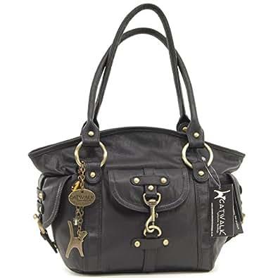 Catwalk Collection Leather Handbag - Karlie - Black