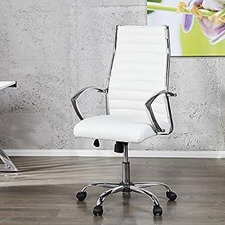 Schreibtischstuhl Chefsessel ATLANTA Weiss Chrom Kunstleder auf 5 Rollen - Ergonomischer Designer Bürostuhl von ambientica -