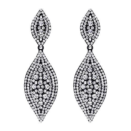 EVER FAITH Damen österreichische kristall hochzeit braut charme 2 blatt tropfen baumeln ohrringe Klar schwarz-ton -