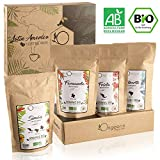 ☘️ CAFE GRAIN BIO ● Café en Grain Arabica ● Coffret café dégustation, Torréfaction Artisanale, 4x250g ● Idée Cadeau Fête des Pères / Mères