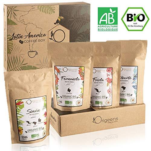 ☘️ BIO Kaffeebohnen Premium Probierset | Arabica Kaffee Ganze Bohnen Set 4x250g | Traditionelle Röstung | Säurearm | Geschenk-Idee