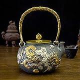 Q-HL Teiere ghisa Giapponesi Tetsubin Teiera in ghisa, bollitore da tè in Stile Giapponese Tetsubin 1.3L |Calda teiera in ghisa per Mantenere Il tè Caldo |Dragon in Cloud Pattern Braciere in ghisa di
