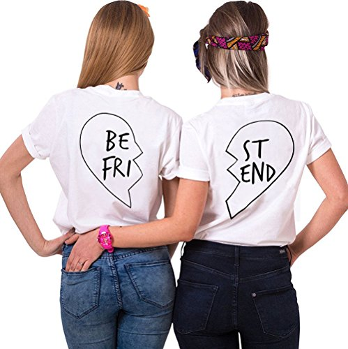 JWBBU® Damen Shirt kurzarm T Shirt Damen mit Aufdruck Best Friends T-Shirt Pommes Frites Damen Sommer Tops Mit Cartoon Weiß-BE