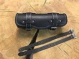 Rotolo di Strumento Black & White Utensile Borsa Rullo Bagagli HD Ruolo Bugrolle Lederrolle Borsa Manubrio Giuntura Bianca Lenkerrolle Ruolo Strumento HD Harley Davidson Chopper Pelle