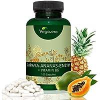 Papaya Enzym (Papain) + Ananas Enzym (Bromelain) Hochdosiert Vegavero | Laborgeprüft | 120 Kapseln | Kombipräparat mit Vitamin B6 | Vegan und OHNE Zusatzstoffe