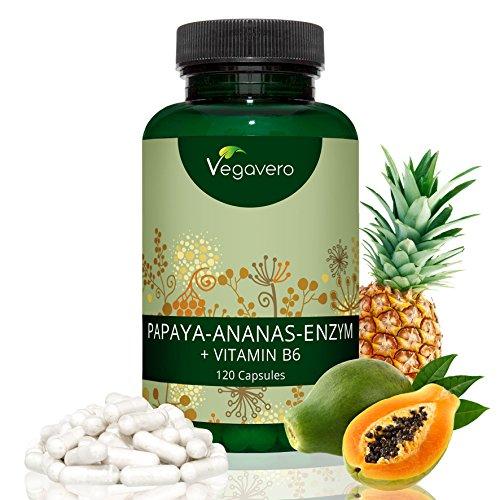 Vegavero® Papaya Enzym + Ananas Enzym | PAPAIN + BROMELAIN + VITAMIN B6 | Hochdosierter Enzymkomplex | VERDAUUNG – ENERGIE | Laborgeprüft | 120 Kapseln | Vegan und OHNE Zusatzstoffe