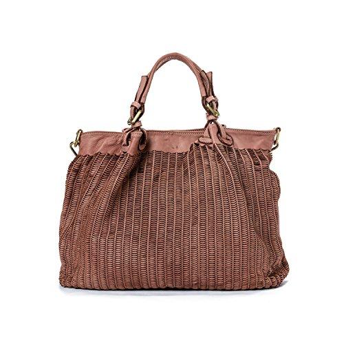 Ira del Valle, Frau Tasche, echtes Leder, Vintage, Frau Umhängetasche, Los Angeles Bag Model, Made In Italy (Rose) (Furla Kroko)