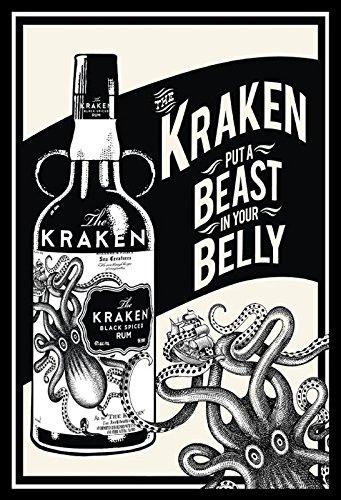 ComCard Kraken Spiced Rum, Beast in Your Belly Schild aus Blech Tin Sign