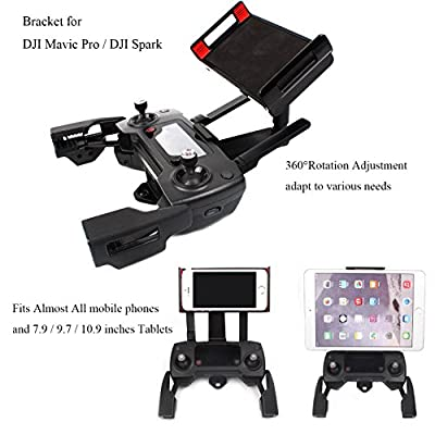 Adjustable Cellphone Tablet Monitor Holder Bracket for DJI Mavic Pro DJI Spark Drone Transimitter Accessories ,Fits Almost All the Smartphones and 7.9 / 9.7 / 10.9 inches Tablets ( iPad Air 2/1, iPad Mini 4/3/2 ) by Crazepony-UK