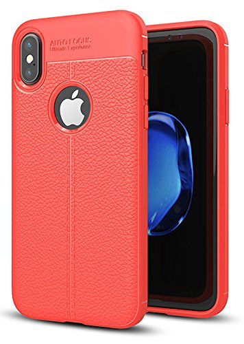 Annure iPhone X Back Cover Case - Shockproof TPU Back Case Cover for iPhone X (Red)