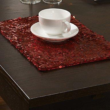 Erica Set di 4 Moderno Rosso Paillettes tovagliette