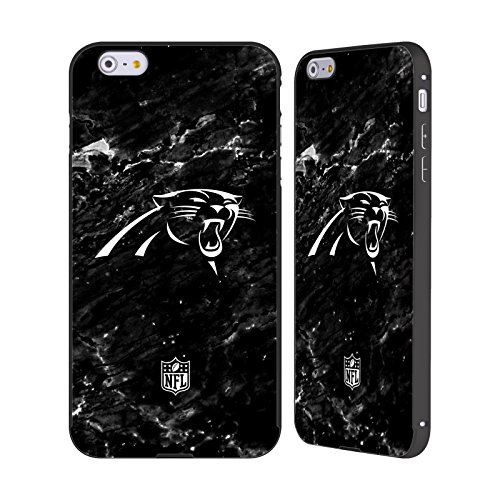 Ufficiale NFL Pattern 2017/18 Carolina Panthers Nero Cover Contorno con Bumper in Alluminio per Apple iPhone 5 / 5s / SE Marmo