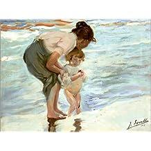 POSTERLOUNGE Alu Dibond 160 x 120 cm: Mother and Child on The Beach de Joaquin Sorolla y Bastida/ARTOTHEK