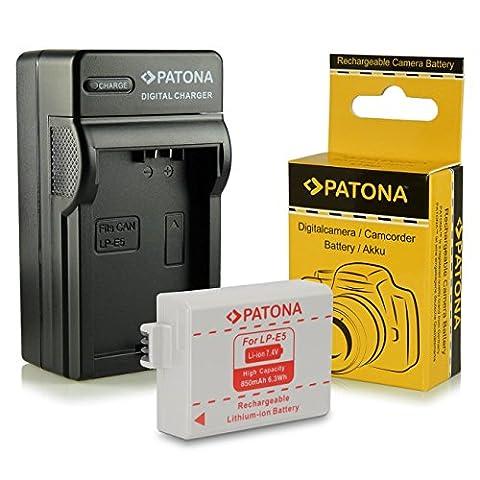 Chargeur + Batterie LP-E5 pour Canon EOS 1000D | EOS 450D | EOS 500D | EOS Rebel T1i | EOS Rebel XS | EOS Rebel Xsi