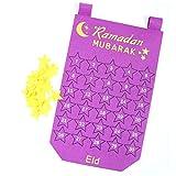 Juman634 DIY Kalender Wandbehang EID Mubarak Kareem Countdown Fühlte Kalender Gold Star Aufkleber Muslim Balram Ramadan Party Dekoration Lila