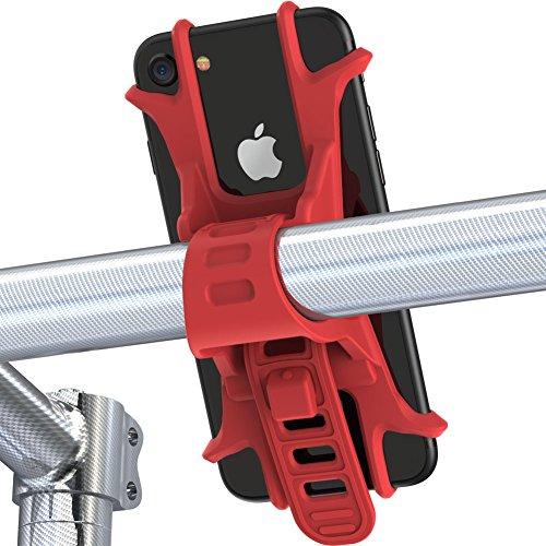 Handyhalterung fahrrad von Fnova, aus Einzelstück geformt hochwertigem Silikon, EXTREM bruchfestes, verstellbarer Smartphone Handyhalter, Universialer Motorrad Fahrradhalter Bike Holder (Neu Rot)
