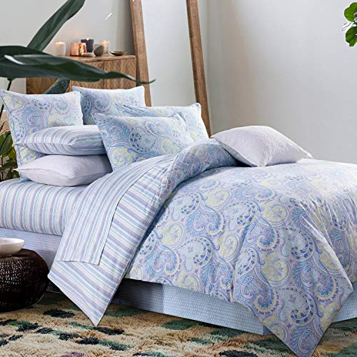 Softta Bettbezug Set Paisley Bettwäsche Design 800 Fadenzahl 100% Baumwolle 3 California King Size Blau -