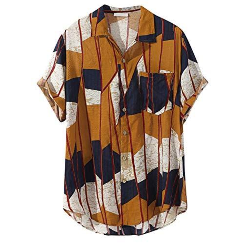 Overdose Camisas Hombre Rayas Manga Corta Camisas para Hombre Verano Estampadas Originales T Shirt Hawaiianas Vintage