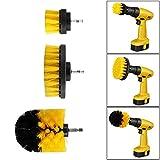 Konesky - Juego de cepillos de limpieza de nailon para limpieza de pisos de cerámica y azulejos (3 unidades, 5 x 8,9 cm) amarillo