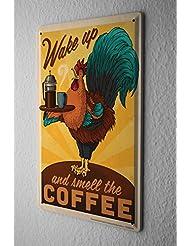 Refranes Cartel De Chapa café despertarse Letrero De Metal 20X30 cm