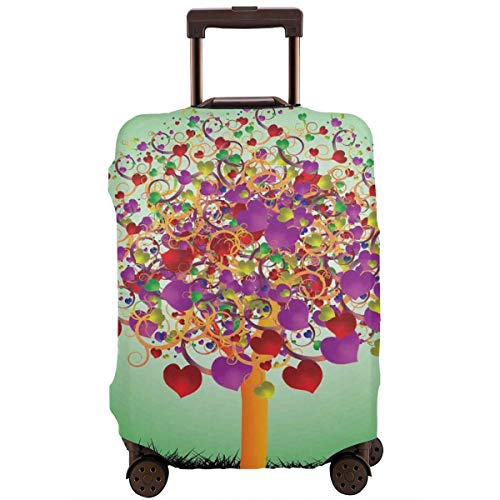 Travel Luggage Cover,Colorful Magic Love Valentines Tree Blossomed Heart Round Leaves and Roots Suitcase Protector -