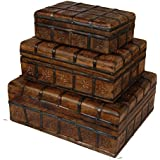 Surya Antique Indian Handmade Mahogany Wooden And Iron Box (30.5X 22.5 X 11.5 / 25.5 X 17 X 9.5 / 20.5 X 12.5 X 6.5 Cms, Brown) - Set Of 3 Pieces