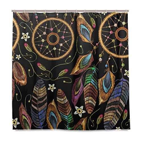 Ahomy Cortinas de Ducha atrapasueños Coloridas Plumas Flores Estilo Boho Impermeable Tela de poliéster 72 x 72 Pulgadas Cortina de Ducha, con 12 Ganchos