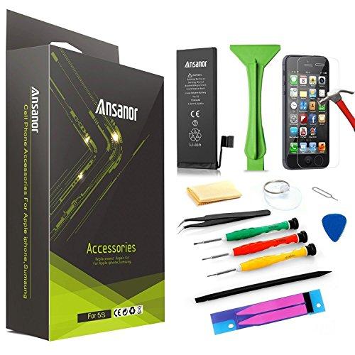 Ansanor® Akku für iPhone 5S + Profi-Werkzeug + Anleitung + Displayschutzfolie 1560mAh Akku für iPhone 5S