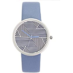 Chronomart Nafisa Women's Fashion Stripes Dial Blue Leather Strap Wrist Watch NA-0050