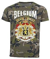 T-Shirt Belgien Camouflage Army WM 2018 .- Vintage Destroy Wappen D01 (L)