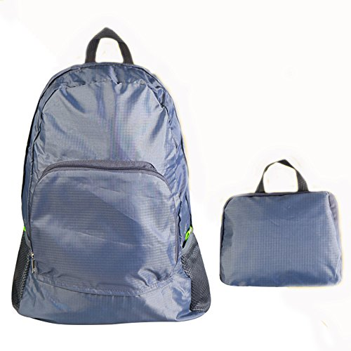Shilipai leggero piegato borsa a tracolla Outdoor Portable alpinismo borsa da viaggio con zaino, Grey Grey