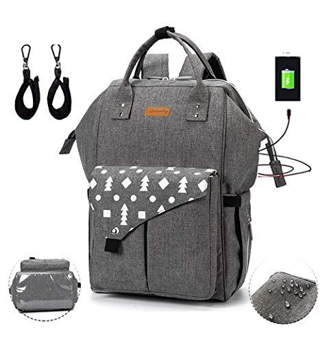 Baby Wickelrucksack Wickeltasche mit USB Ladeanschluss, Multifunktional Große Kapazität Babytasche für mama, Wasserdicht Oxford Reisetasche für Unterwegs mit 2 Kinderwagengurten (DunkelGrau)