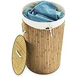 Relaxdays Panier à linges pliable Corbeille avec couvercle & poignées sac amovible rond 65 x 41 cm 80 L en bois de bambou corbeille pliante, couleur naturelle