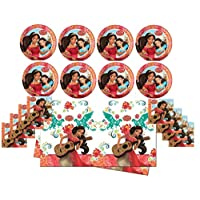 Theonoi themed party birthday celebration decoration set: napkins + tablecloth + large plates total 29 pieces for 8 children - selectable: Vaiana Princess - Elena - Sofia - Frozen Elena Of Avalor