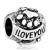 Uniqueen I Love You Charms pour Animal Domestique Pattes de Chien Animal Perles pour Bracelets