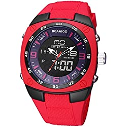Beautiful Watches , BOAMIGO 3741 Multifunctional 3ATM Waterproof Squared Dial Dual Movement Quartz &Digital Dual-time Display Wrist Watch with Silicone Band and Luminous &Stopwatch &Alarm &Week Display &Calendar Display Functions