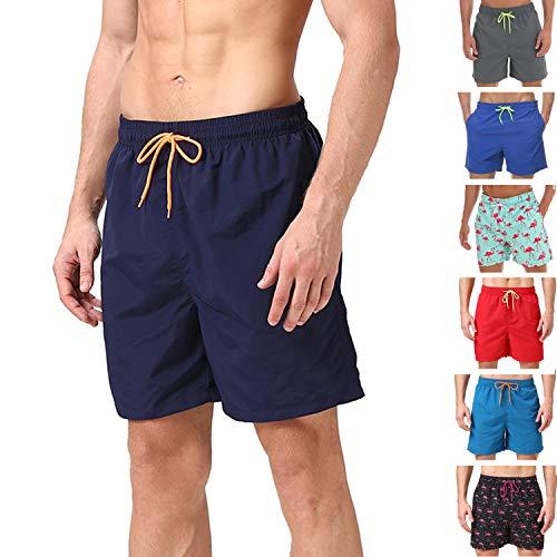anqier Badeshorts für Männer Badehose für Herren Jungen Schnelltrocknend Schwimmhose Strand Shorts,Dunkelblau,XS(EU)-MarkeGröße:S-Taille 70-76cm