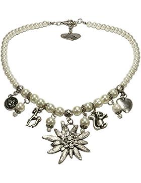 Alpenflüstern Perlen-Trachtenkette Marie mit Strass-Edelweiß und Trachten-Anhängern Damen-Trachtenschmuck in schwarz...