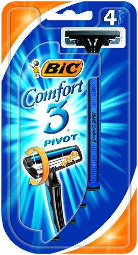 BIC Comfort 3Pivot, Pack 4, Dreiklingen-Rasierer - Pivot-rasierer