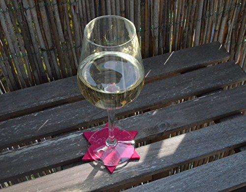 FILU Filzuntersetzer Sterne 8 Stück (Farbe wählbar) Untersetzer je 10 cm x 10 cm pink – Untersetzer aus Filz für Tisch und Bar als Glasuntersetzer / Getränkeuntersetzer für Glas und Gläser Dekoration Weihnachten