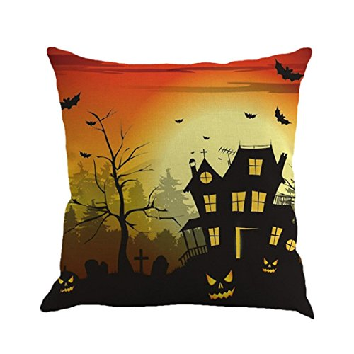 LSAltd Leinen Sofa Kissenbezüge, Happy Halloween Kissenbezug Home Decor (C)