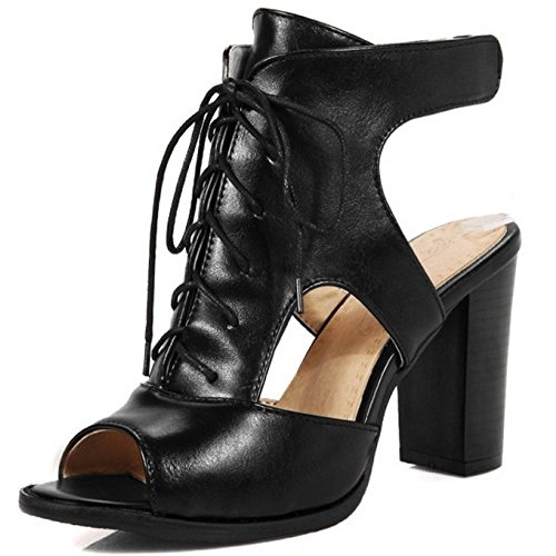 COOLCEPT Femmes Mode Party Chaussures Dentelle Slingback Gladiateur Sandales Bloc Talons hautss Noir
