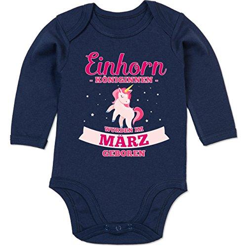 Geburtstag Baby - Einhorn Königinnen wurden im März geboren - 6-12 Monate - Navy Blau - BZ30 - Baby Body Langarm