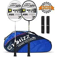 Whizz Badminton Schläger Racket Set 100% Graphit Carbon 2 STK mit Schlägertasche & 2 Griffbänder