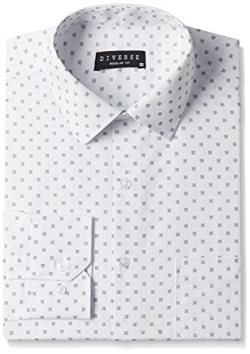 Diverse Men's Printed Regular Fit Cotton Formal Shirt (DVF01F2L01-236-40_White/Blue_40)