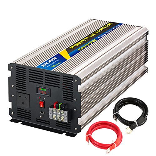 Sug 5000 W (Peak 10000 W) Power Inverter Pure Sine Wave DC 12 V auf AC 230 V 240 V Konverter Back up Netzteil (UK-Stecker) für Klimaanlage, Mikrowelle, Kaffeemaschine, Leerstellen, Power Tools (50hz Inverter Power)
