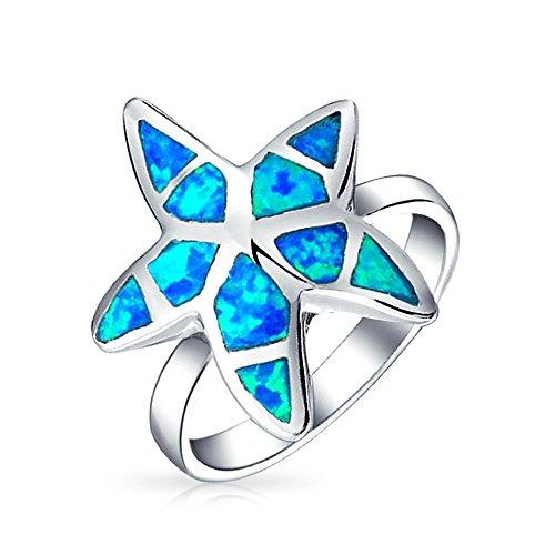 Nautische Tropischen Strand Blue Opal Inlay Seestern Ring Für Damen 925 Sterling Silber Erstellt