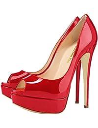 b266f0908e53 Caitlin Pan Femmes Escarpins Plateforme 15CM Escarpins Peep Toe 3CM  Plateforme Talon Chaussures Open Toe 35