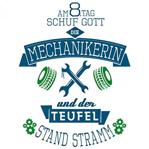 Fashionalarm Damen T-Shirt - Am 8. Tag schuf Gott die Mechanikerin | Fun Shirt mit Spruch als Geschenk Idee für Job Arbeit Beruf Hobby Schrauberin Weiß